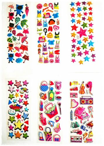 12 X Mix Kid Fun 3D Foam Stickers Star Heart Instrument Dress Sweets Rainbow