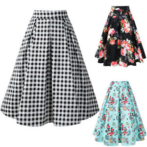 Details About Floral Plaid Pleated Skirt Women High Waist Cotton Vintage Skirts With Pockets