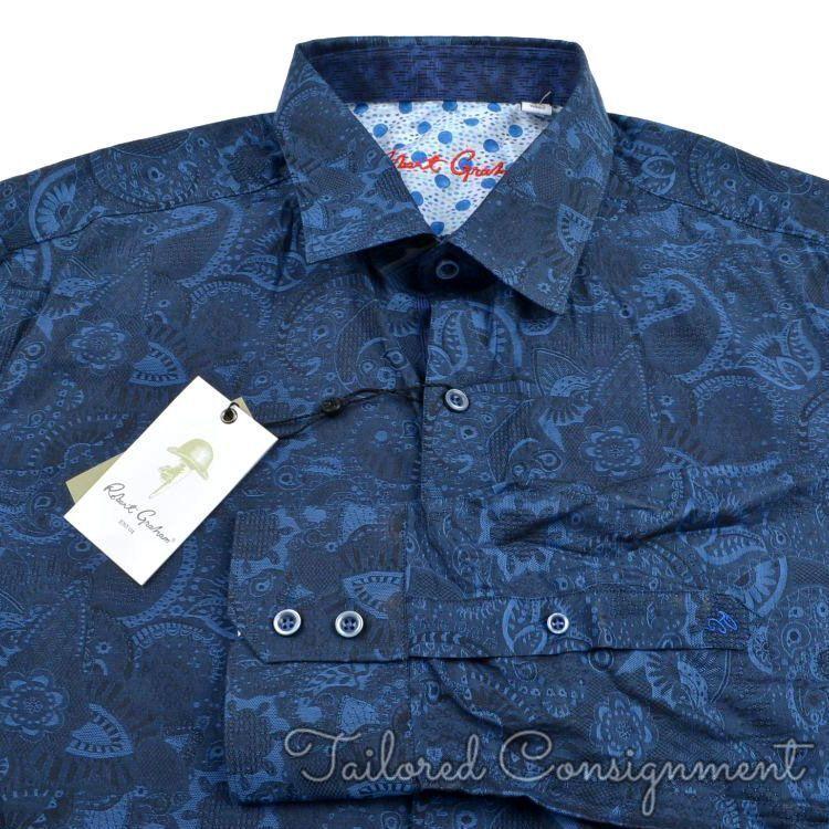 NWT - ROBERT GRAHAM Coolbrook bluee Paisley 100% Cotton Casual Dress Shirt - XL