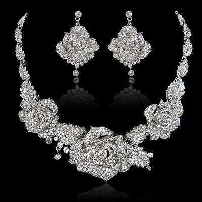 Trio Rose Necklace Earring Set Austrian Crystal Clear Flower Silver GP -E756