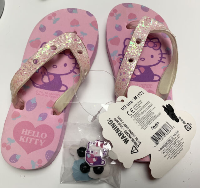 NWT Toddler Girls Hello Kitty Glitter Flip Flops Sz 12 Sandals With Charms 2010