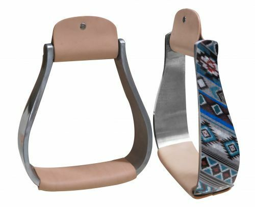 WESTERN HORSE SADDLE ALUMINUM STIRRUPS SHIMMERING NAVAJO PRINT W  LEATHER TREAD