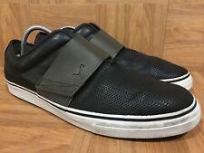 VTG🔥 Puma El Rey Slip On Fashion Black Leather Gray Strap Sneakers Sz 13 USED