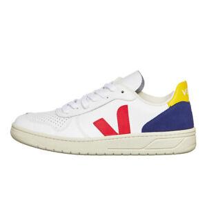 Veja-v-10-WMN-extra-WHITE-Pekin-Cobalt-Oro-Yellow-Sneaker-Scarpe