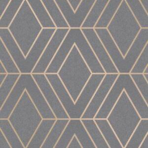Details About Pulse Diamond Wallpaper Charcoal Copper Fine Decor Fd42352 Sparkle