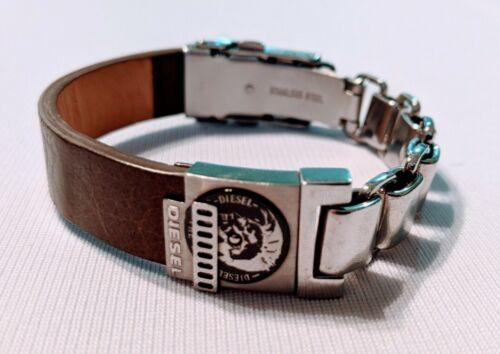 Diesel Mens Jewelry Stainless Steel Leather Bracel