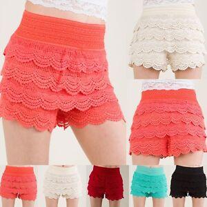 Crochet Tiered Lace Short Skirt Pants shorts Cotton Super Cute S~L ...