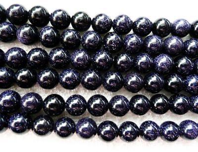 Genuine 6//8//10mm Natural Blue sandstone Gemstone Round Loose Beads 15/'/' JL355