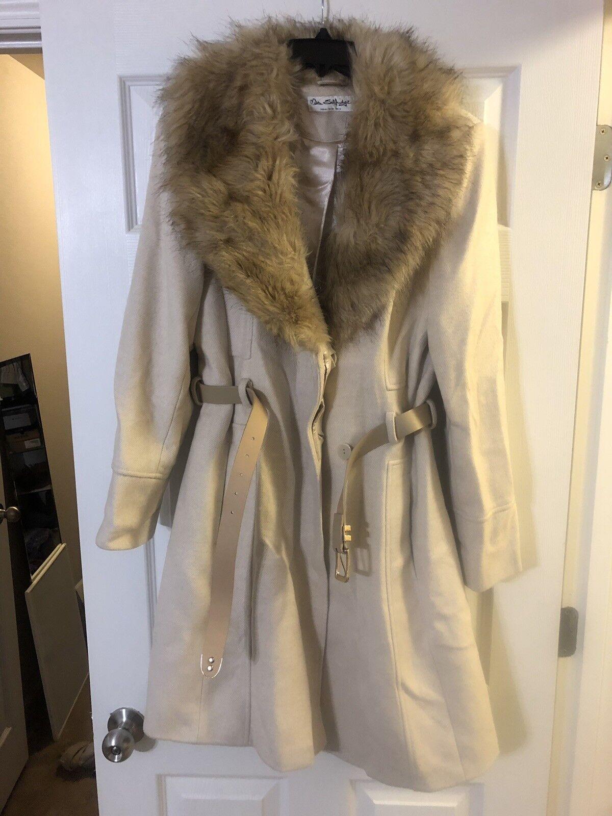 Womens Faux Fur Coat From London, UK Size 10