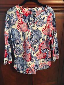 Talbots-Colorful-Pastel-Geometric-amp-Floral-Print-Cotton-Popover-Blouse-Sz-Large