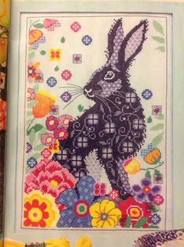 C Spring Hare And Flowers Cross Stitch Chart