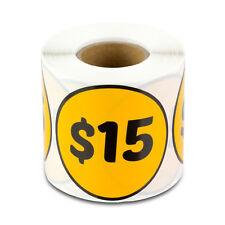 15 Dollars Stickers Store Money Garage Sale Retail Fleamarket Price Labels 1pk