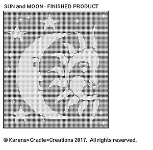 Details about CELESTIAL - SUN and MOON Filet Crochet Pattern