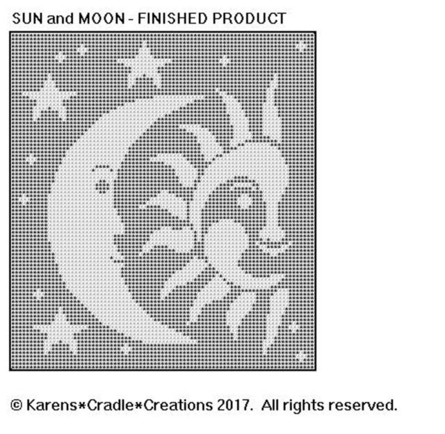 Celestial Sun And Moon Filet Crochet Pattern For Sale Online Ebay