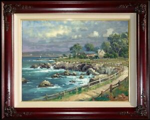 Thomas-Kinkade-Seaside-Village-S-N-DBL-SGND-18x24-Canvas-Brandy-Frame