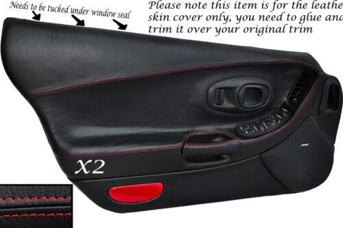 Red stitch 2x pleine peau cuir carte porte couvre fits CORVETTE C5 1997-2004