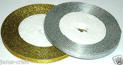 GOLD SILVER METALLIC RIBBON CHRISTMAS DECORATION PARTY CARD MAKING WEDDING PARTY