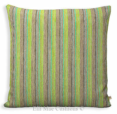Designers Guild Fine Stripe Green Brown Designer Sofa Cushion Pillow Cover