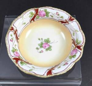Vintage Je-Oh Hand Painted Nippon China Bowl Pink Rose Enameled Gold ...
