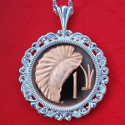 Beautiful 1975 Cook Islands Gem BU Proof 1 Cent Coin 925 Sterling Silver Necklace NEW Taro Leaf