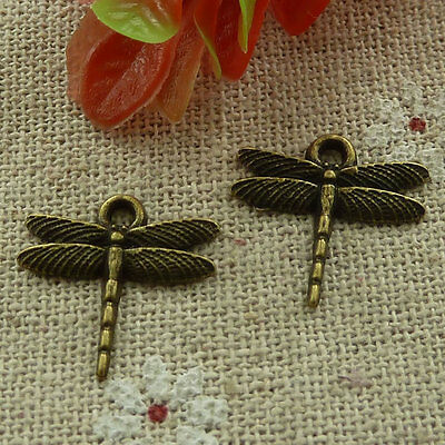 free ship 520 pieces bronze plated dragonfly charms 16x16mm #3032