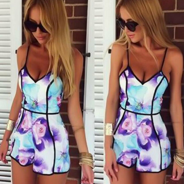 Sexy Floral Playsuit Party Evening Summer Ladies Dress Jumpsuit Short Romper TR