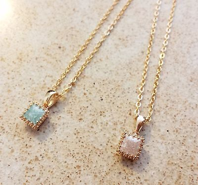 Vintage 14K Gold filled square pendant chain necklace moonstone opal Israel made