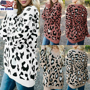 Women-Leopard-Print-Knitted-Sweater-Top-Ladies-Long-Sleeve-Loose-Jumper-Pullover