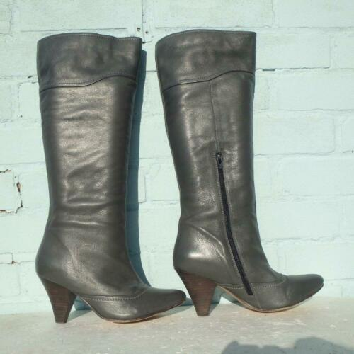 Grey Leather Sexy Oasis Uk Size 6 Eur 39 Boots Pull On Ladies Womens 7qdxqS