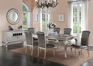 7pc Dining Room Kitchen Set Table 6 Diamond Tufted Parson Chairs 7 piece Table