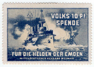 I-B-CKK-Germany-Great-War-Cinderella-For-The-Heroes-of-The-Emden-10pf