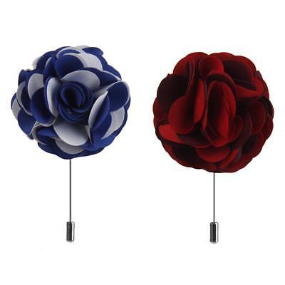 2Pcs Hommes Tissu Rose Fleur Revers Broche Bâton Boutonnière Broche pour