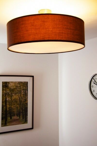 Plafoniera lampada soffitto design moderno metallo nichel tessuto Marronee 73837