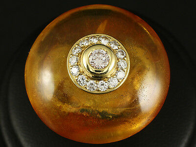 Riesiger Extravaganter Bernstein Brillant Ring  23,8g 750/- Gelbgold