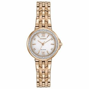 Citizen Eco-Drive Women's Diamond Accents Rose Gold Tone 29mm Watch EM0443-59A