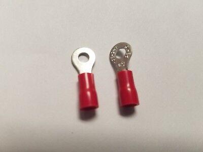 #6 B Red Ring Terminal Connector Metal 22-18 AWG Vinyl Crimp 100 Pcs Per Pack