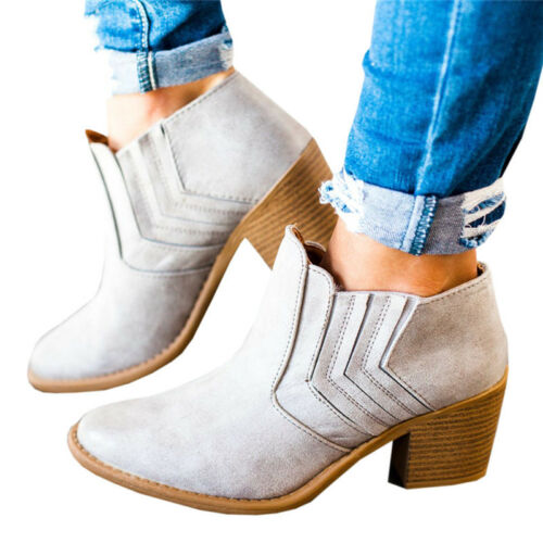 Womens Mid Block Heel Ankle Boots Slip On Round Toe Chunky Riding Shoes UK 3.5-8