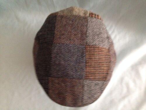 Mens Scottish Pure Wool Harris Tweed Patchwork Flat Cap From Scotland