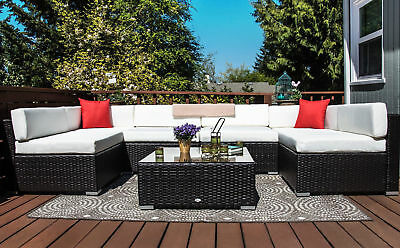 7pc Rattan Wicker Sofa Set Sectional Couch Cushioned