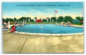 Postcard Swope Park Mirror Pool Kansas City Missouri
