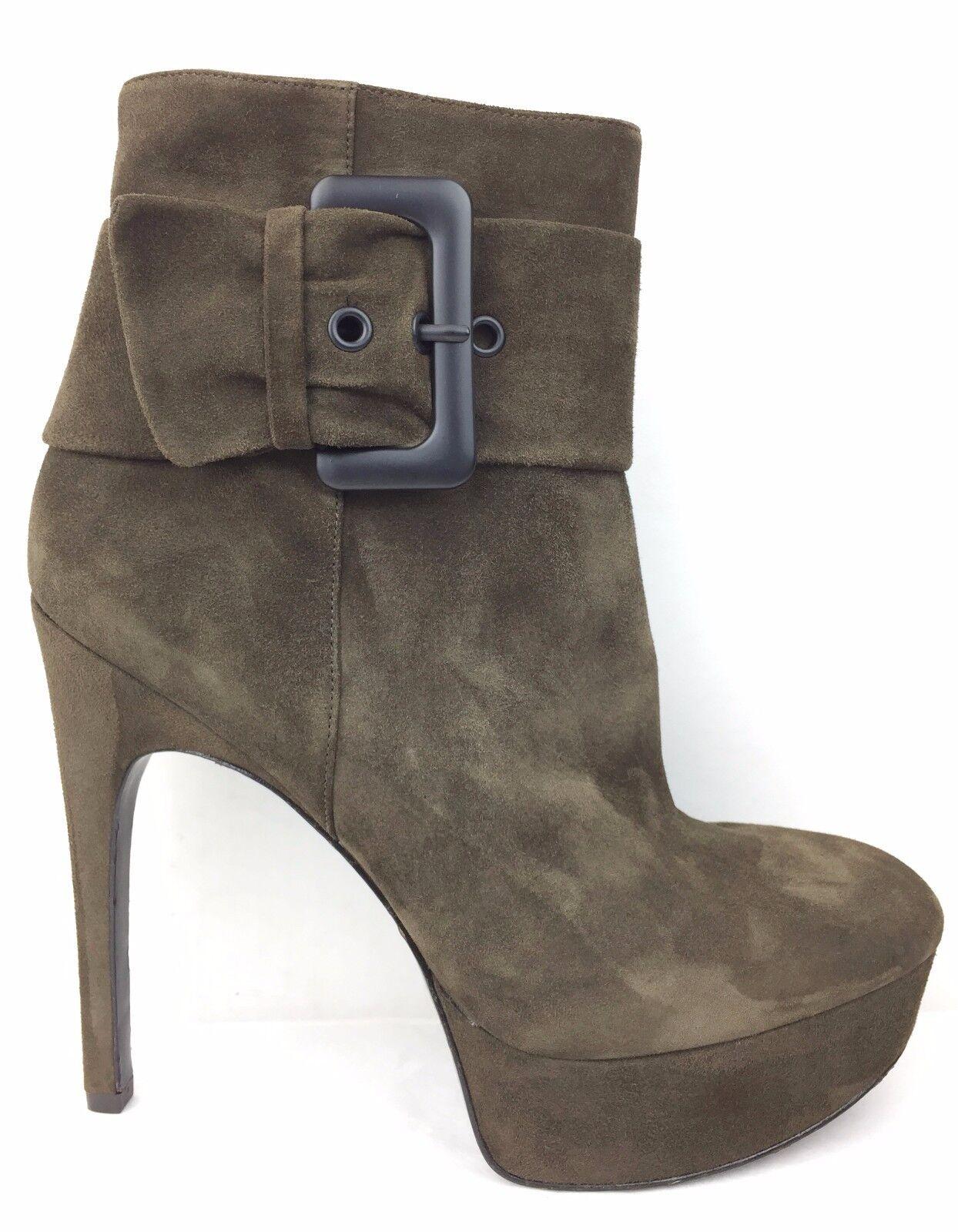 Via Spiga Demetra Dark Dark Dark Olive Suede Platform Heeled Ankle Stiefel sz  US 9 64d4e1