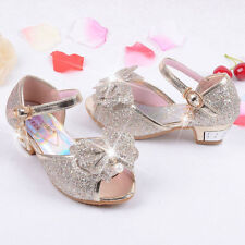 90fab9dbe3d Frozen Sandals Elsa Cosplay Bow Princess Party Pearl Shoes Kids Girls Dance  shoe