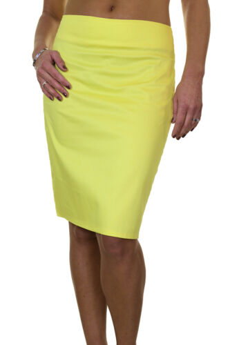 """Stretch Pencil Skirt 22/"""" Smart Casual Cotton Sateen Yellow 6-18 ICE 2541-5"""