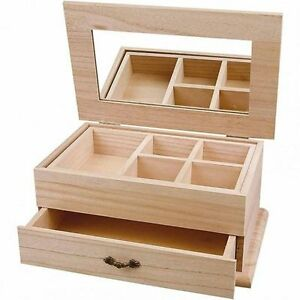 Plain Wooden Jewellery Box Large Mirror Drawer Decorate