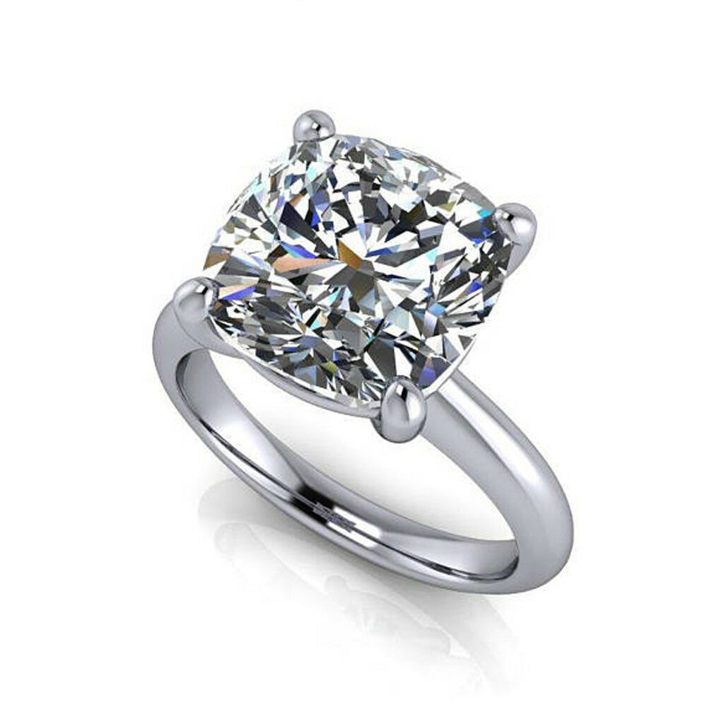 2.00 Ct Cushion Cut Diamond Wedding Real 14K White gold Rings Size 5 6.5 7 8