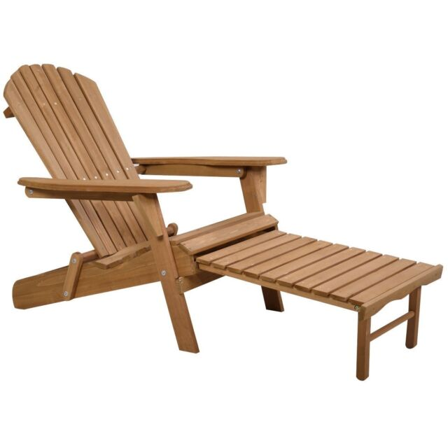 Astonishing Outdoor Wood Chair Folding Garden Deck Adirondack W Pull Out Ottoman Furniture Machost Co Dining Chair Design Ideas Machostcouk