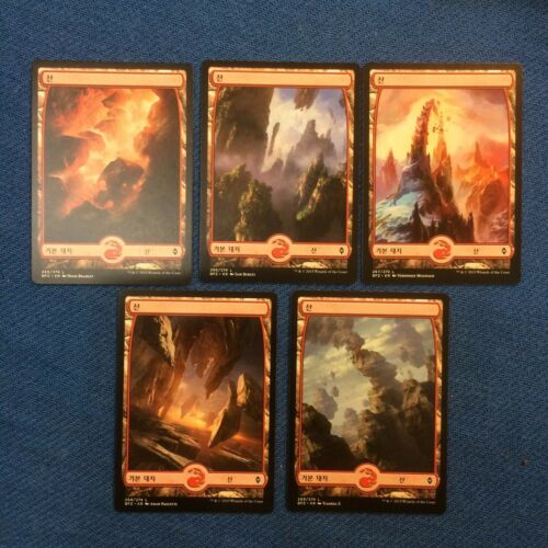 MTG Magic the Gathering Korean Battle for Zendikar Basic Mountain