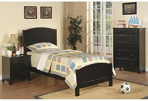 Poundex 3 Piece Kids Twin Size Bedroom Set In Medium Oak Finish
