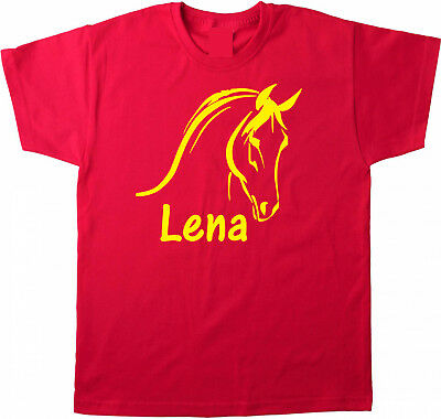 Kinder T-shirt Pferd Pferdeköpfe mit Name Wunschname Farbe Rot mit Flockdruck