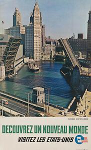 Affiche-Originale-Decouvrez-un-nouveau-monde-Chicago-Illinois-USA-1963
